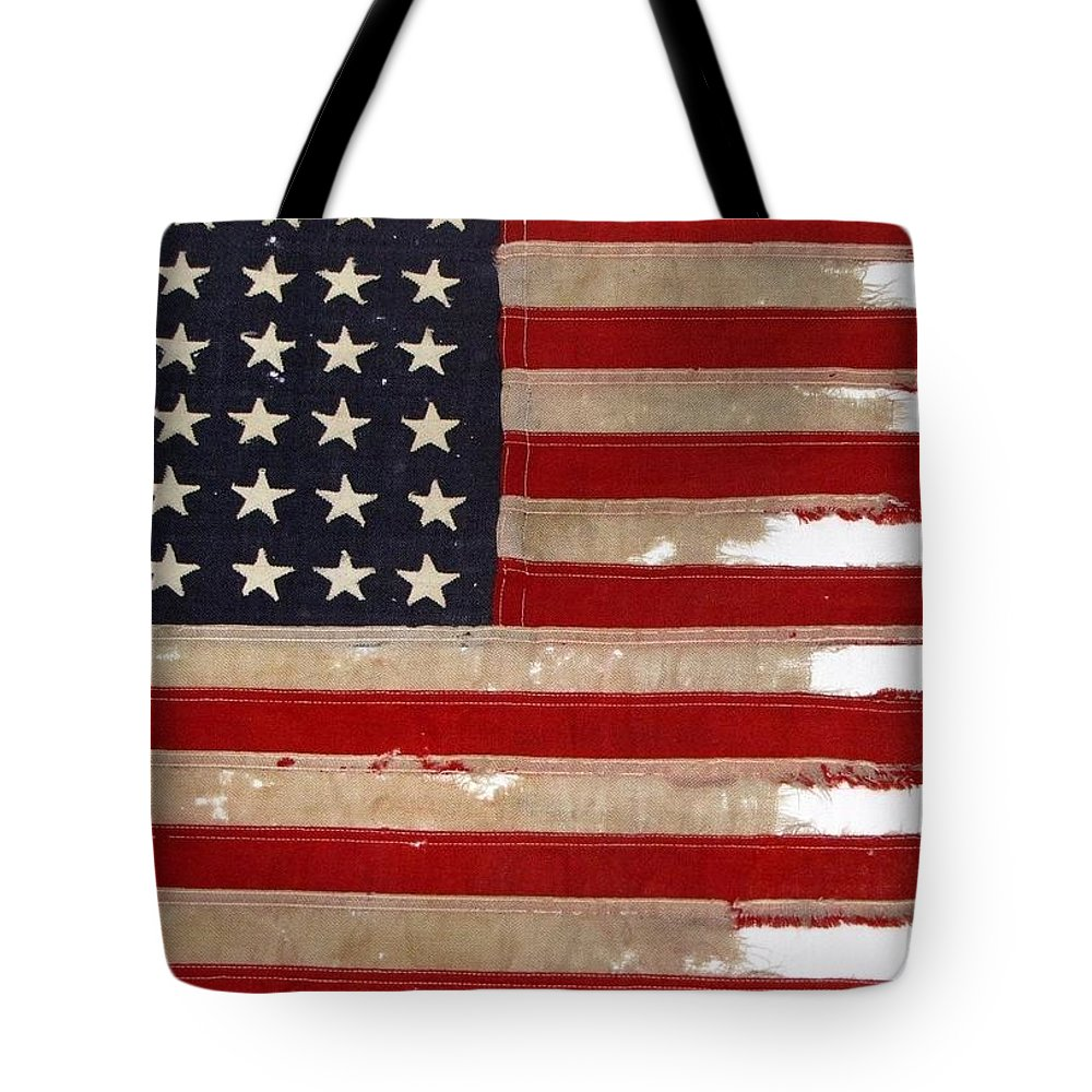 Flag Tote Bag featuring the photograph Jfk's Pt-109 Flag by Lori Pessin Lafargue