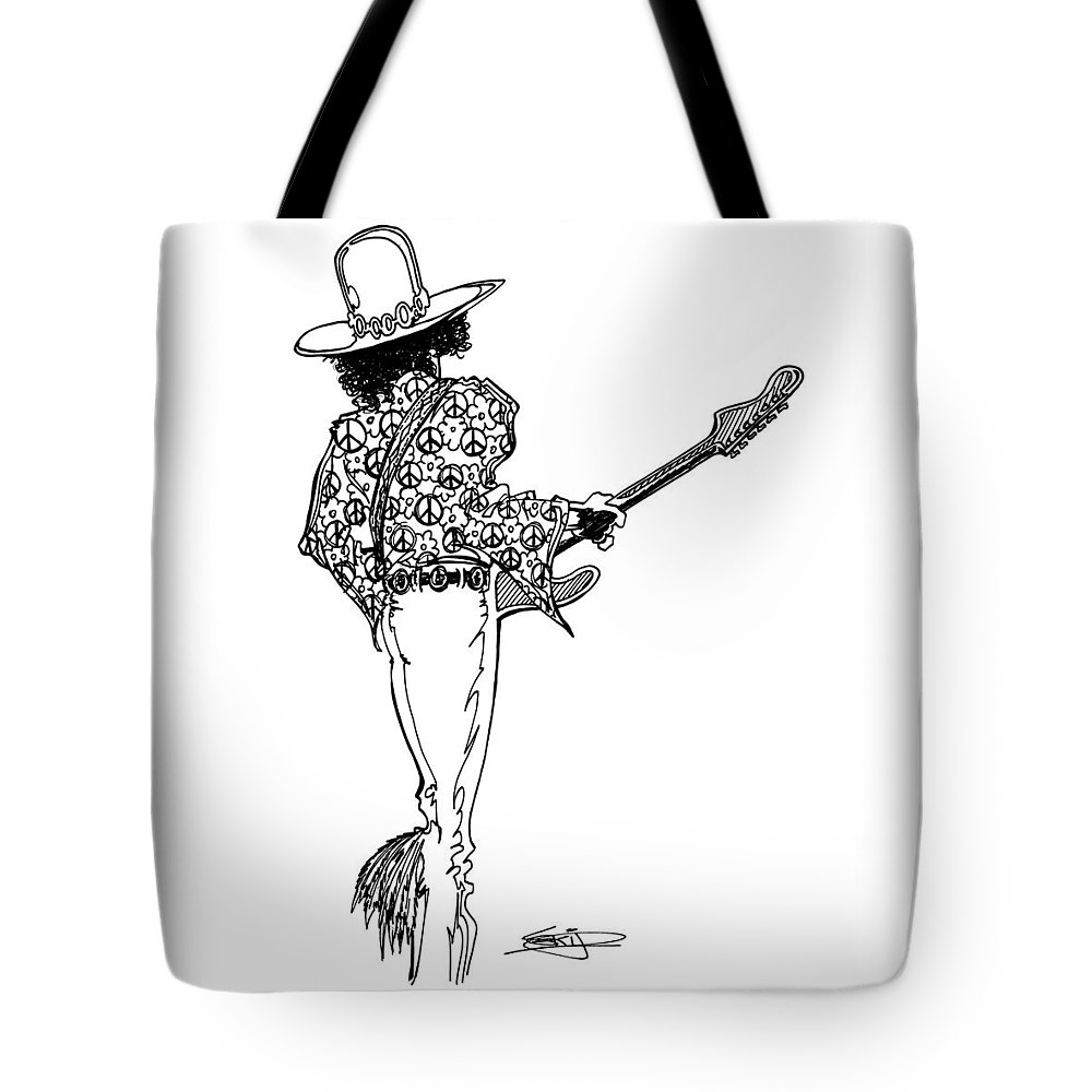 Guitar Tote Bag featuring the painting J.h.2 by SKIP Smith