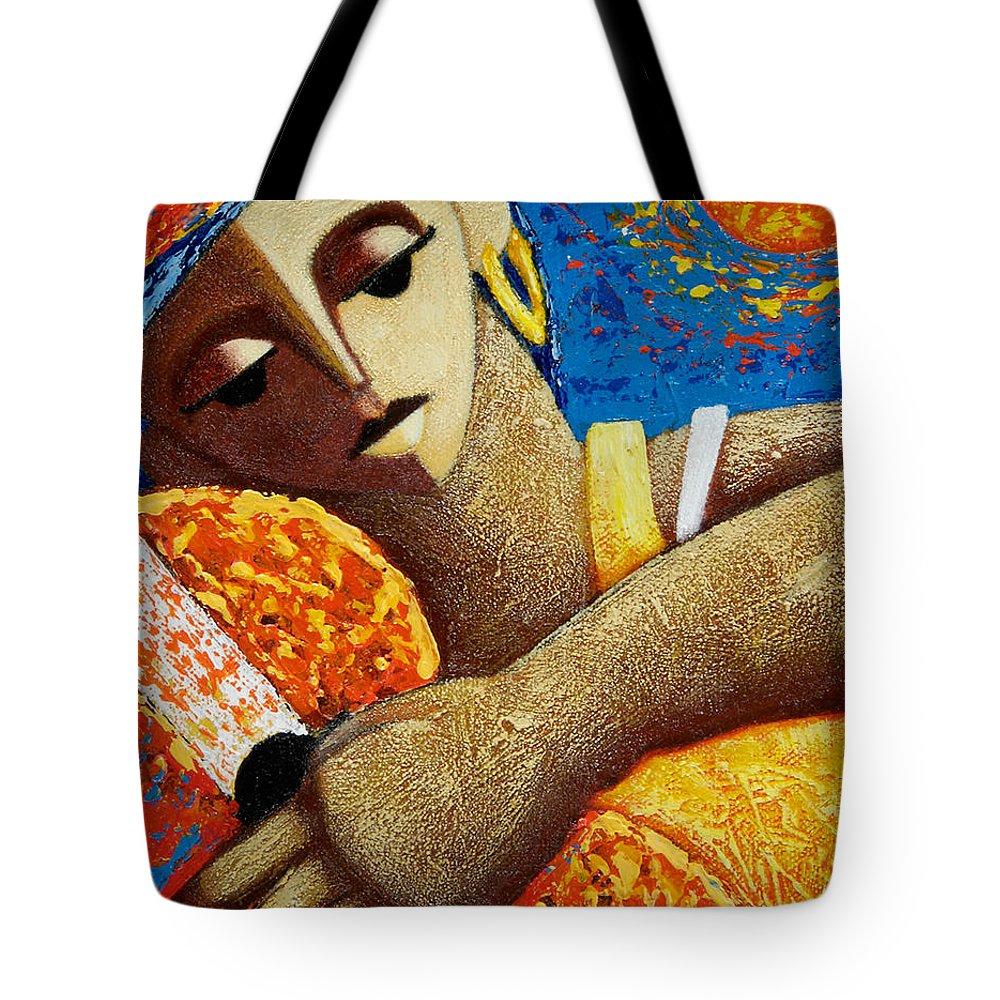 Puerto Rico Tote Bag featuring the painting Jibara Y Sol by Oscar Ortiz