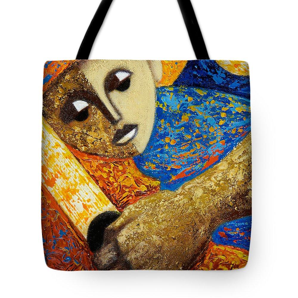 Color Tote Bag featuring the painting Jibaro y Luna by Oscar Ortiz