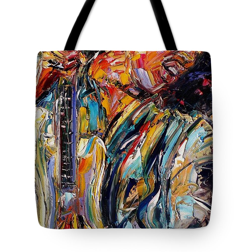 Jimi Hendrix Painting Tote Bag featuring the painting Jimi Hendrix by Debra Hurd
