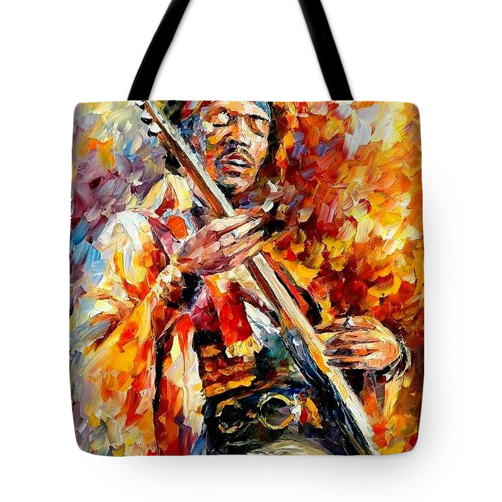 Music Tote Bag featuring the painting Jimi Hendrix by Leonid Afremov