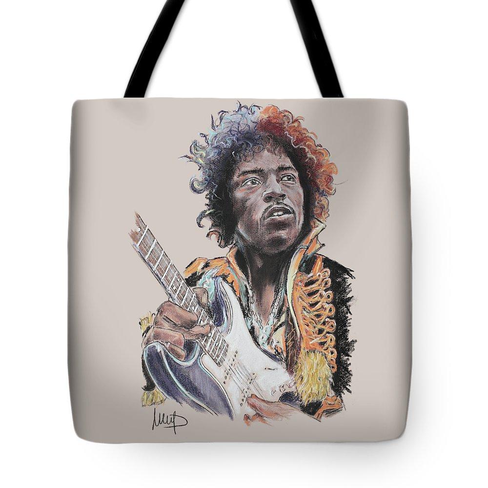 Jimi Hendrix Tote Bag featuring the pastel Jimi Hendrix by Melanie D
