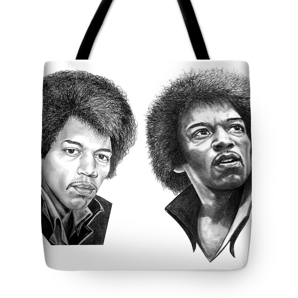 Drawing Tote Bag featuring the drawing Jimi Hendrix by Murphy Elliott