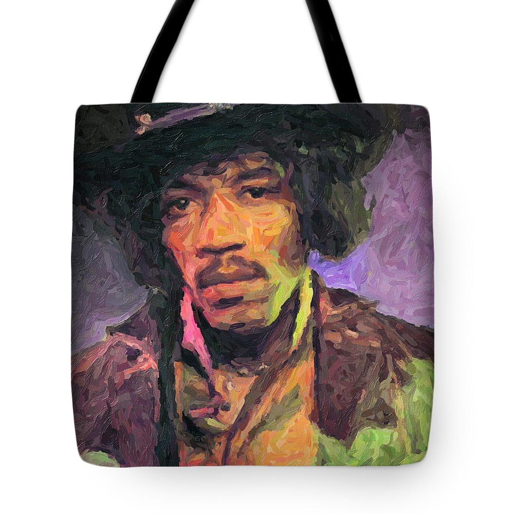 Jimi Hendrix Tote Bag featuring the painting Jimi Hendrix by Zapista OU