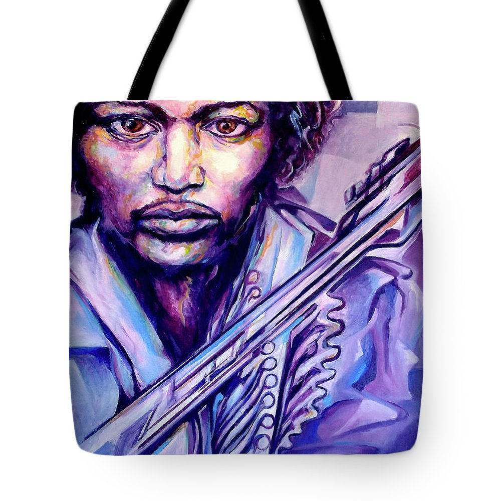 Tote Bag featuring the painting Jimi by Lloyd DeBerry