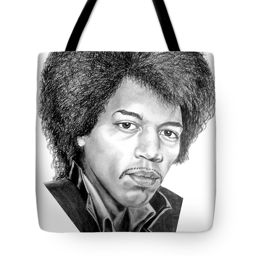 Jimmi Hendrix Tote Bag featuring the drawing Jimmi Hendrix By Murphy Art. Elliott by Murphy Elliott