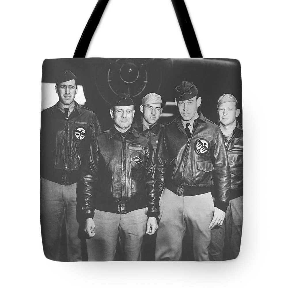Doolittle Raid Tote Bag featuring the photograph Jimmy Doolittle And His Crew by War Is Hell Store