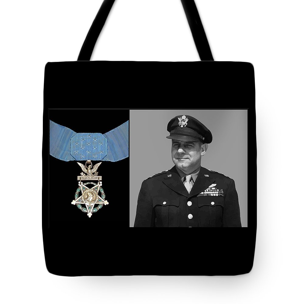 Jimmy Doolittle Tote Bag featuring the painting Jimmy Doolittle And The Medal Of Honor by War Is Hell Store