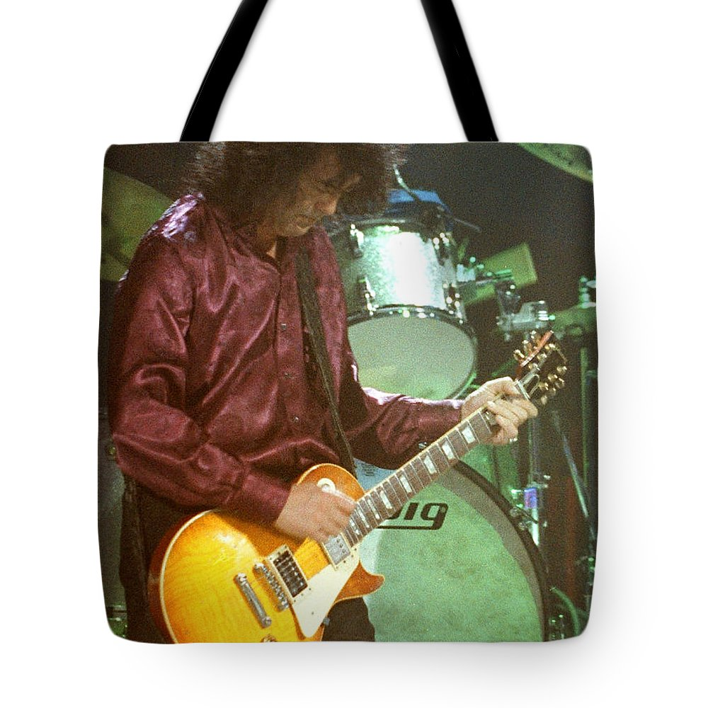 Robert Plant Tote Bag featuring the photograph Jimmy Page-0002 by Timothy Bischoff