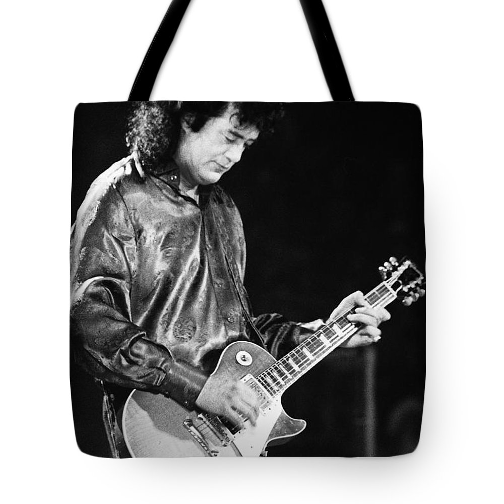 Robert Plant Tote Bag featuring the photograph Jimmy Page-0023 by Timothy Bischoff