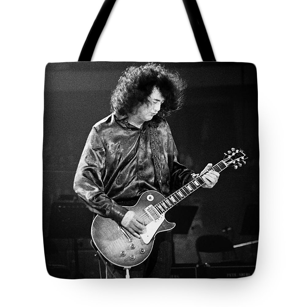 Robert Plant Tote Bag featuring the photograph Jimmy Page-0028 by Timothy Bischoff