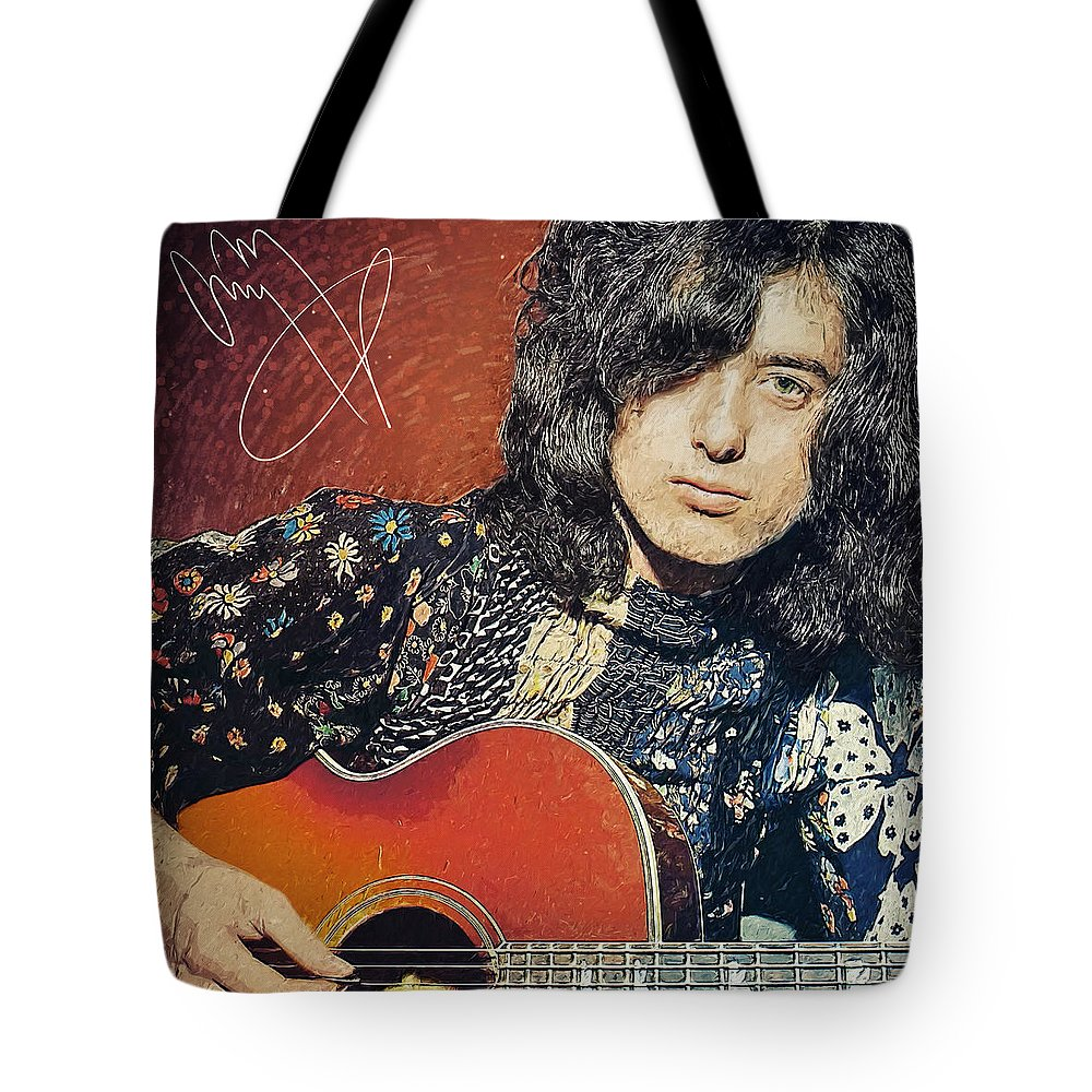 Jimmy Page Tote Bag featuring the digital art Jimmy Page by Zapista