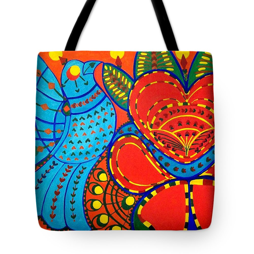 Contemporary Folk Tote Bag featuring the painting Jinga Bird - Jinga Bird Series by Fareeha Khawaja