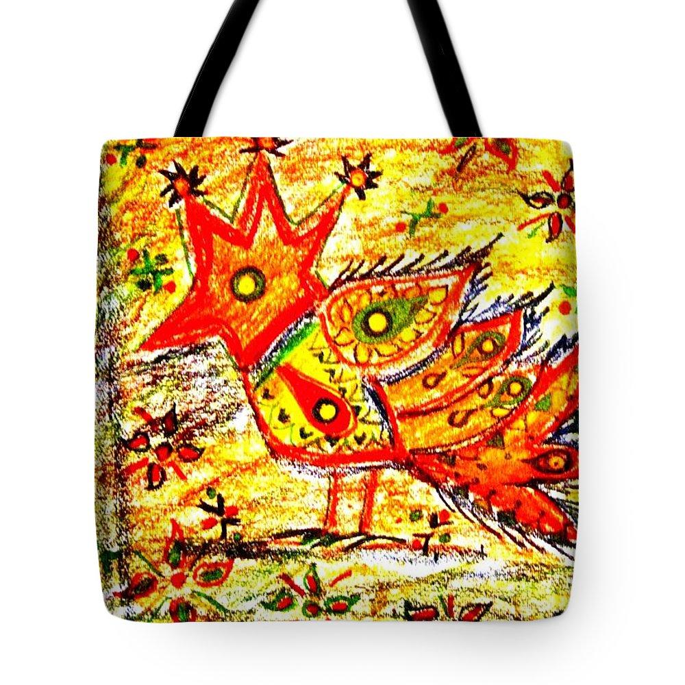 Contemporary Folk Tote Bag featuring the mixed media Jinga bird II - Jinga Bird Series by Fareeha Khawaja