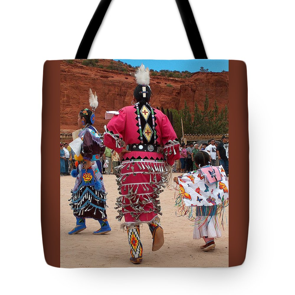 Pow-wow Tote Bag featuring the photograph Jingle Dress And Fancy Shawl Dancers by Tim McCarthy