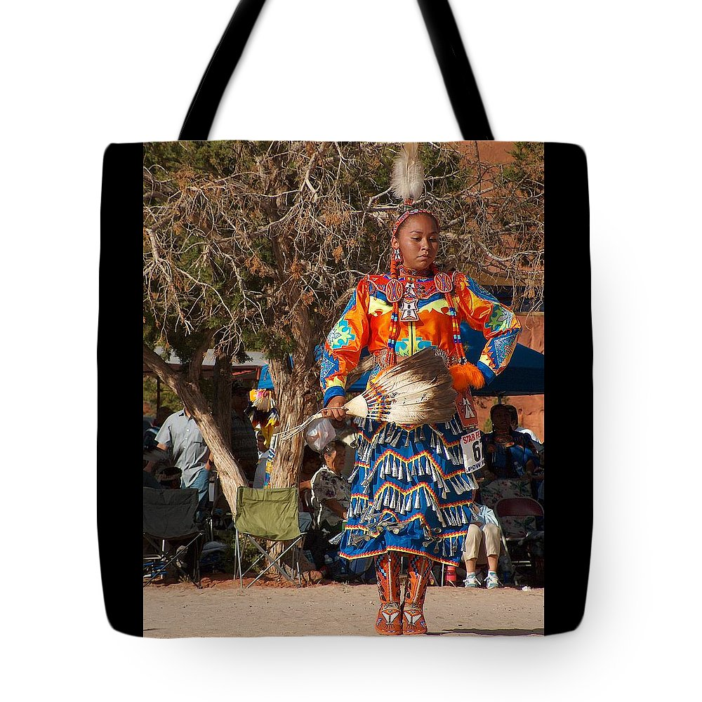Pow-wow Dancer Tote Bag featuring the photograph Jingle Dress Dancer At Star Feather Pow-wow by Tim McCarthy