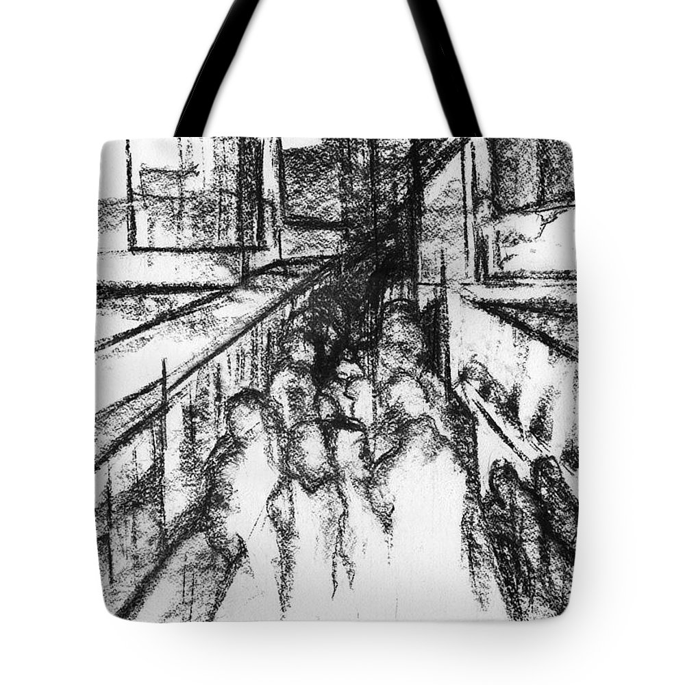 Contemporary Painting Tote Bag featuring the drawing Frankenberg Material. 15 March, 2015 by Tatiana Chernyavskaya