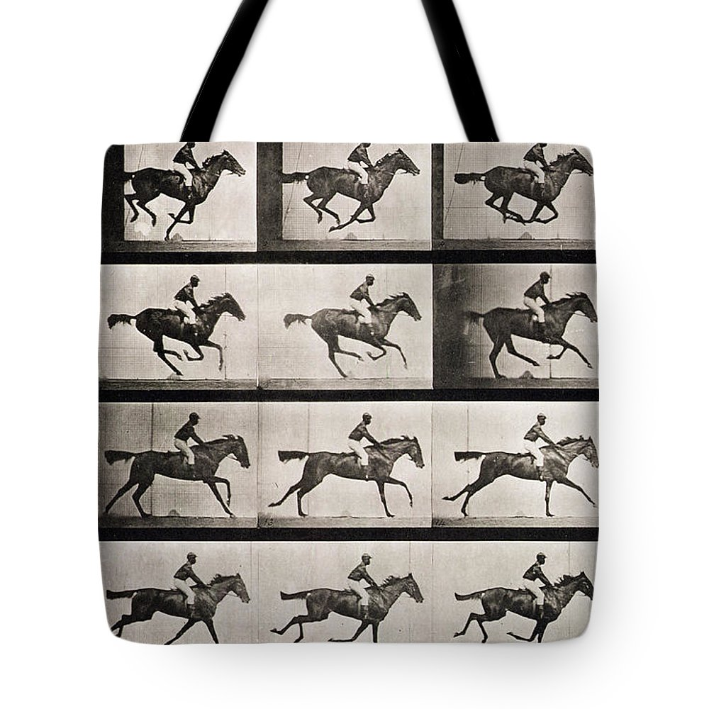 Muybridge Tote Bag Featuring The Photograph Jockey On A Galloping Horse By Eadweard