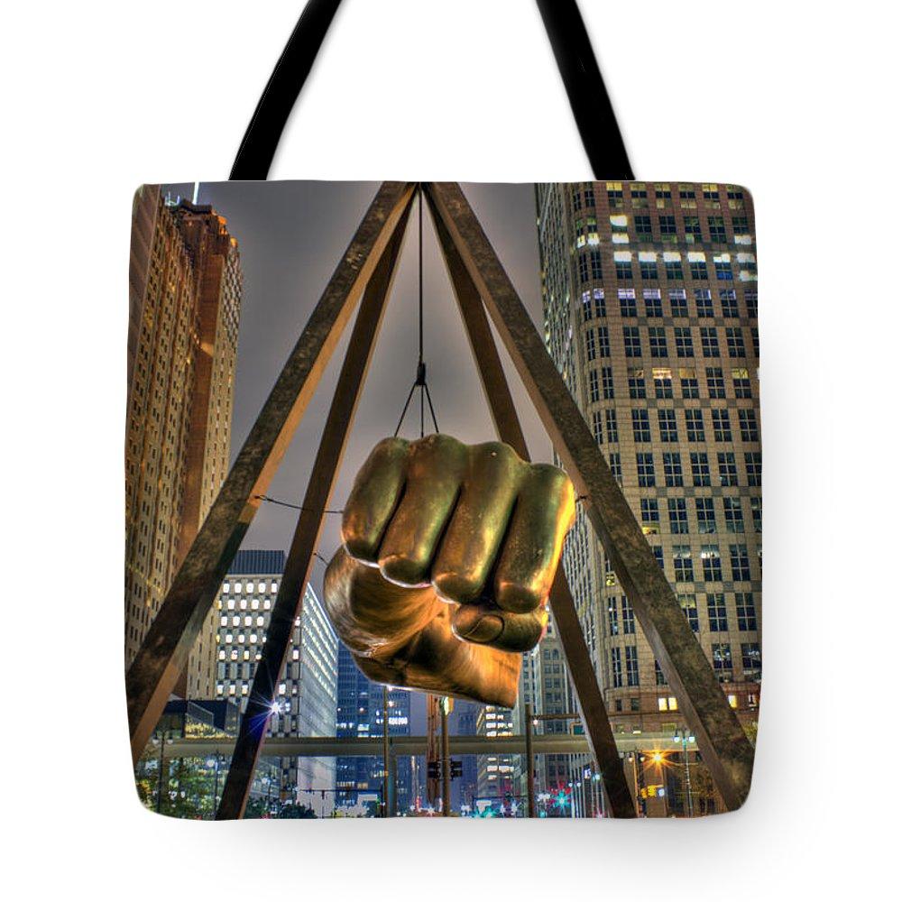 Dj Just Nick Tote Bag featuring the digital art Joe Louis Fist Detroit MI by Nicholas Grunas