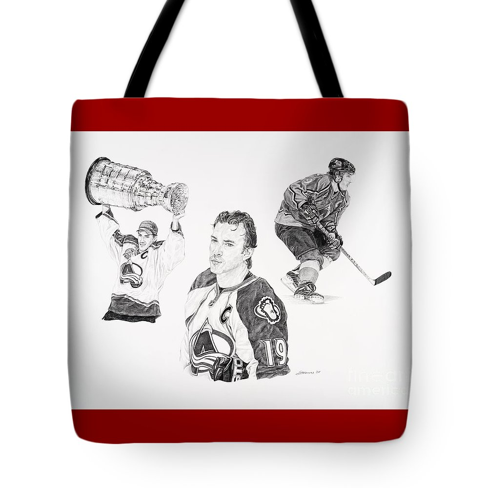 Hockey Tote Bag featuring the drawing Joe Sakic by Shawn Stallings
