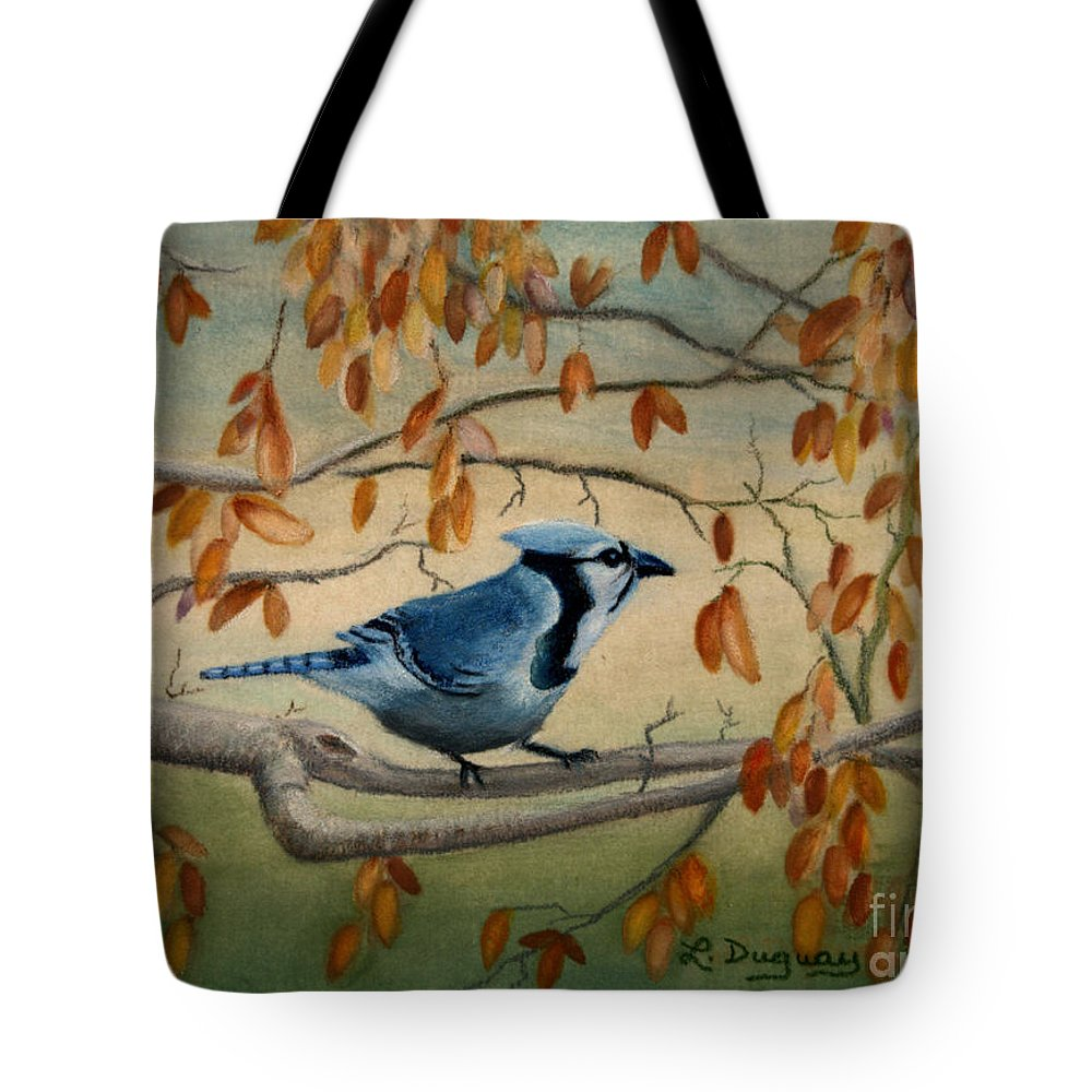 Bluejay Tote Bag featuring the drawing Joe's Jay by Lora Duguay