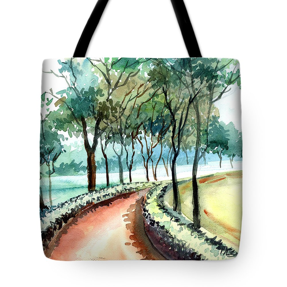 Landscape Tote Bag featuring the painting Jogging Track by Anil Nene