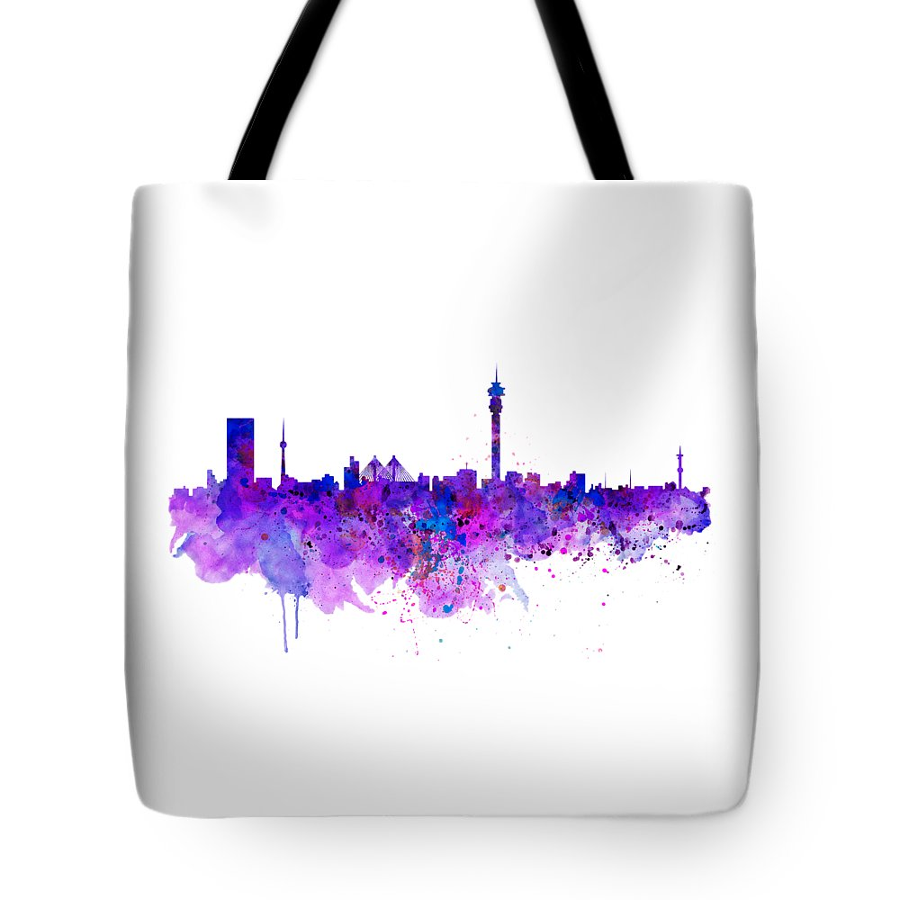 Johannesburg Tote Bag featuring the painting Johannesburg Skyline by Marian Voicu
