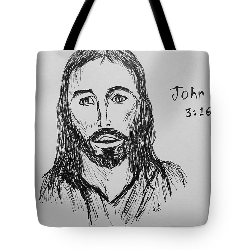 Religious Tote Bag featuring the drawing John 3 16 by Victoria Lakes