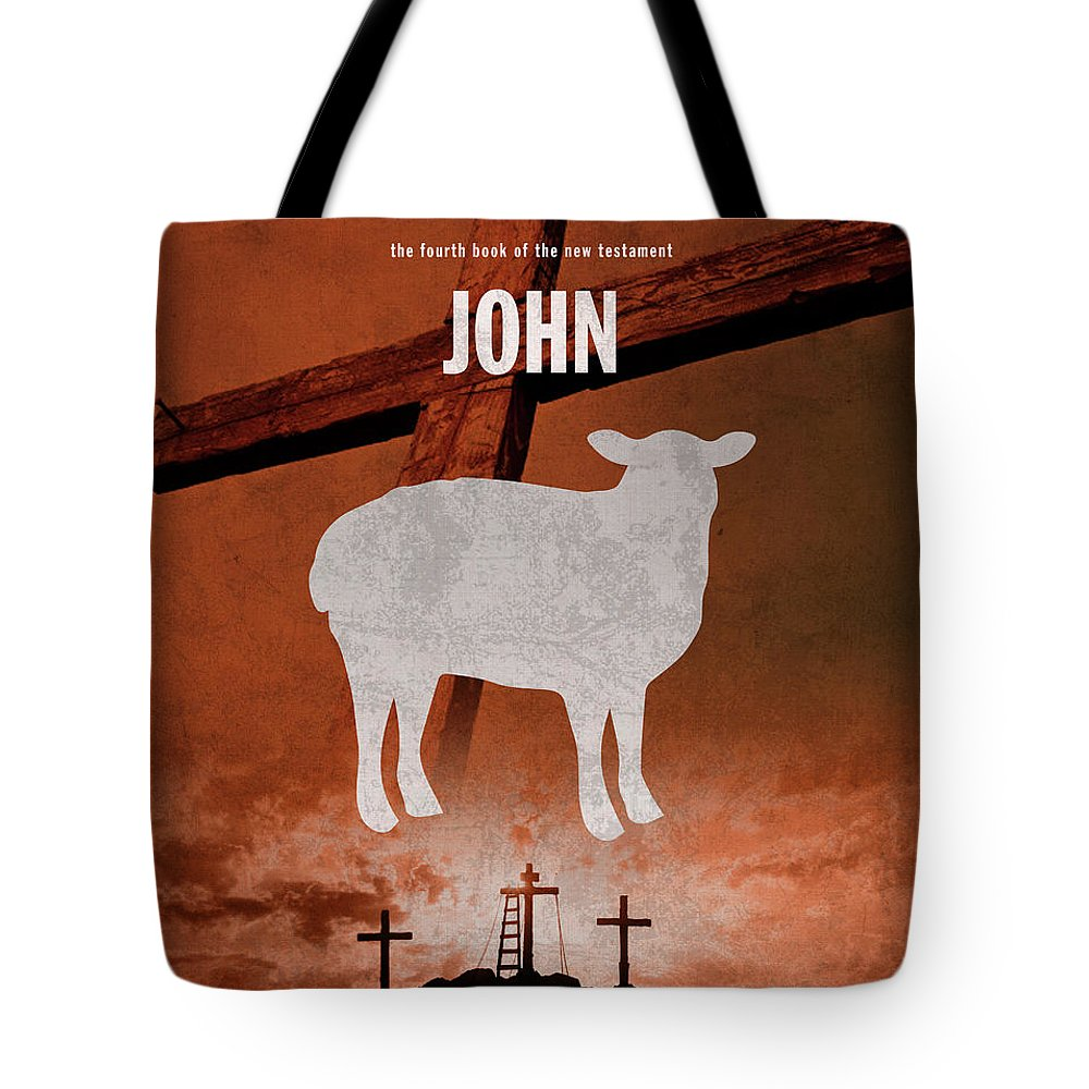 John Tote Bag featuring the mixed media John Books Of The Bible Series New Testament Minimal Poster Art Number 04 by Design Turnpike