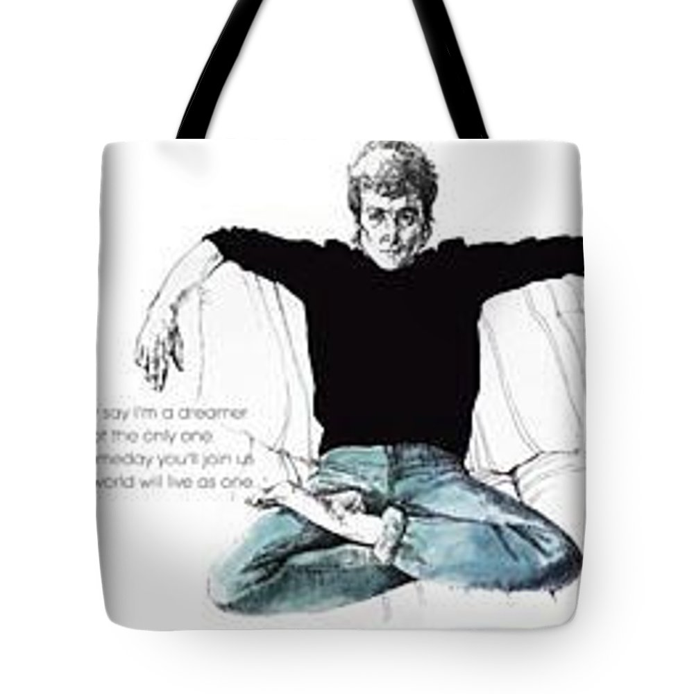 Pen And Ink Wash Tote Bag featuring the drawing John by Christine Cavataio
