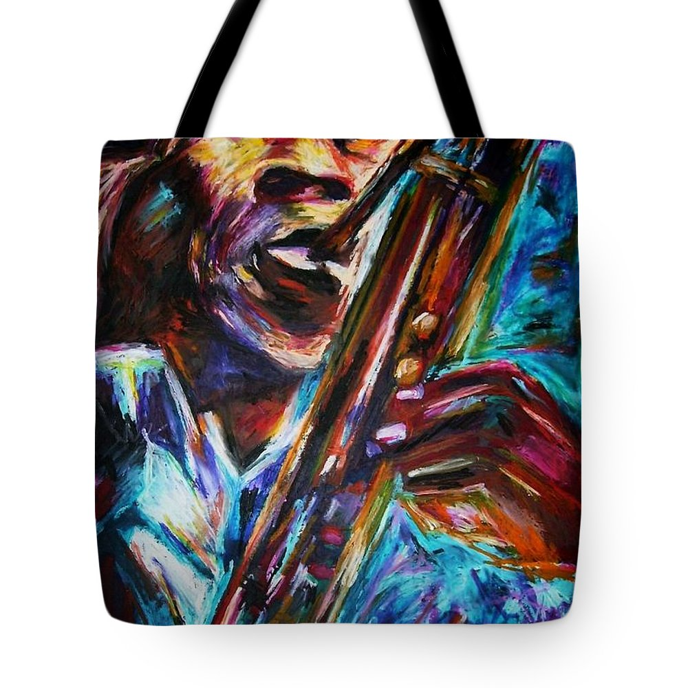 Jazz Tote Bag featuring the painting John Coltrane by Frances Marino