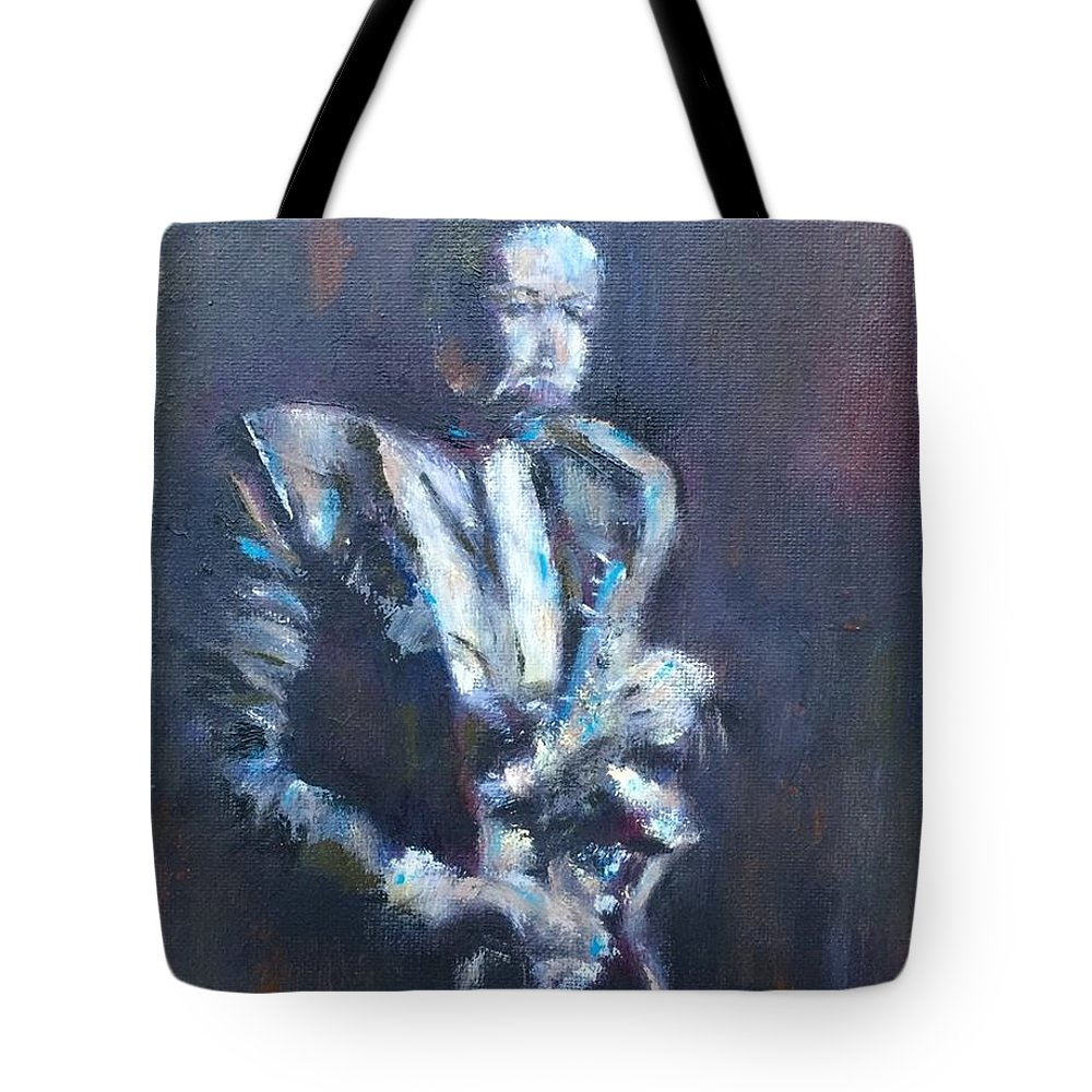 John Coltrane Tote Bag featuring the painting John Coltrane by Kathy Stiber