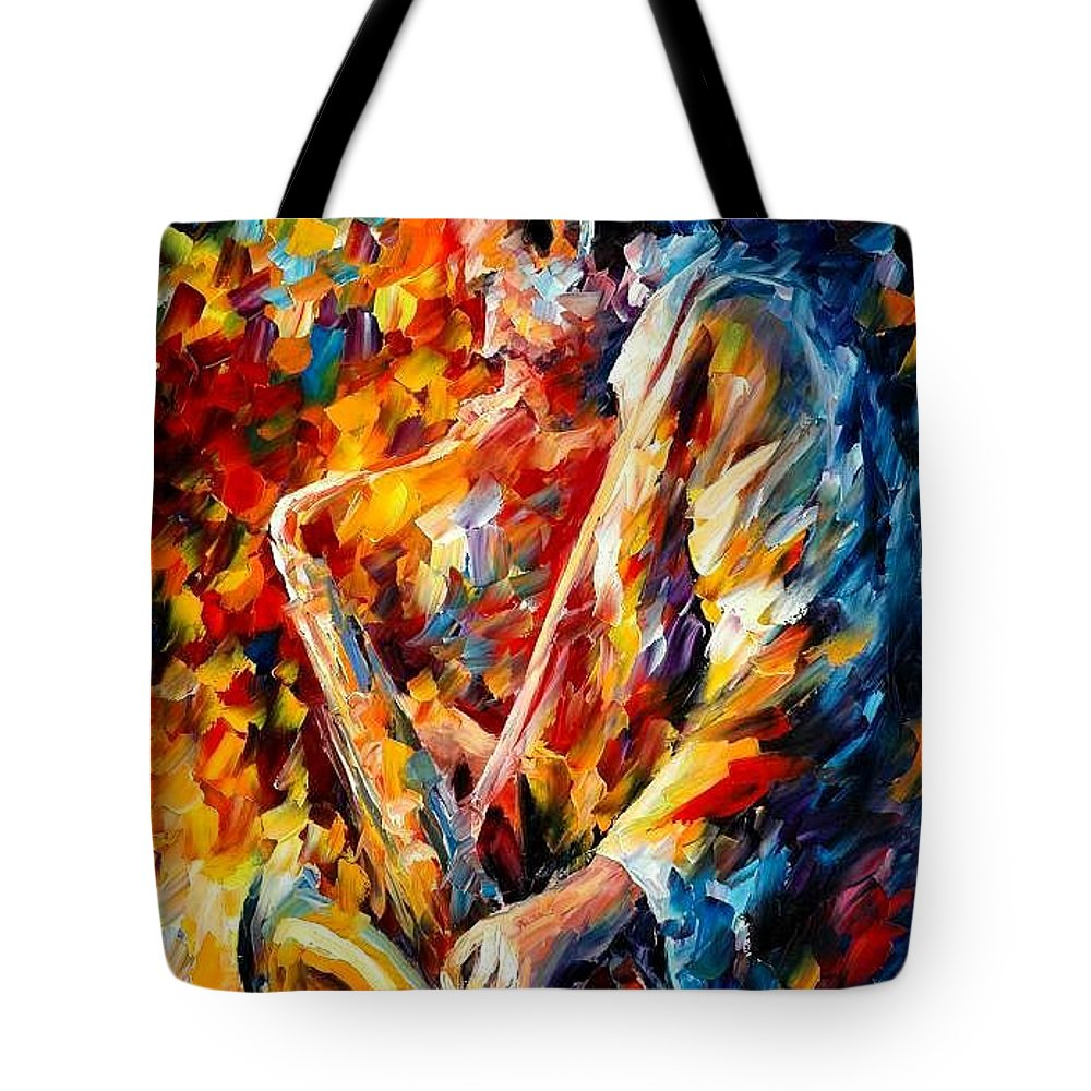 Music Tote Bag featuring the painting John Coltrane by Leonid Afremov