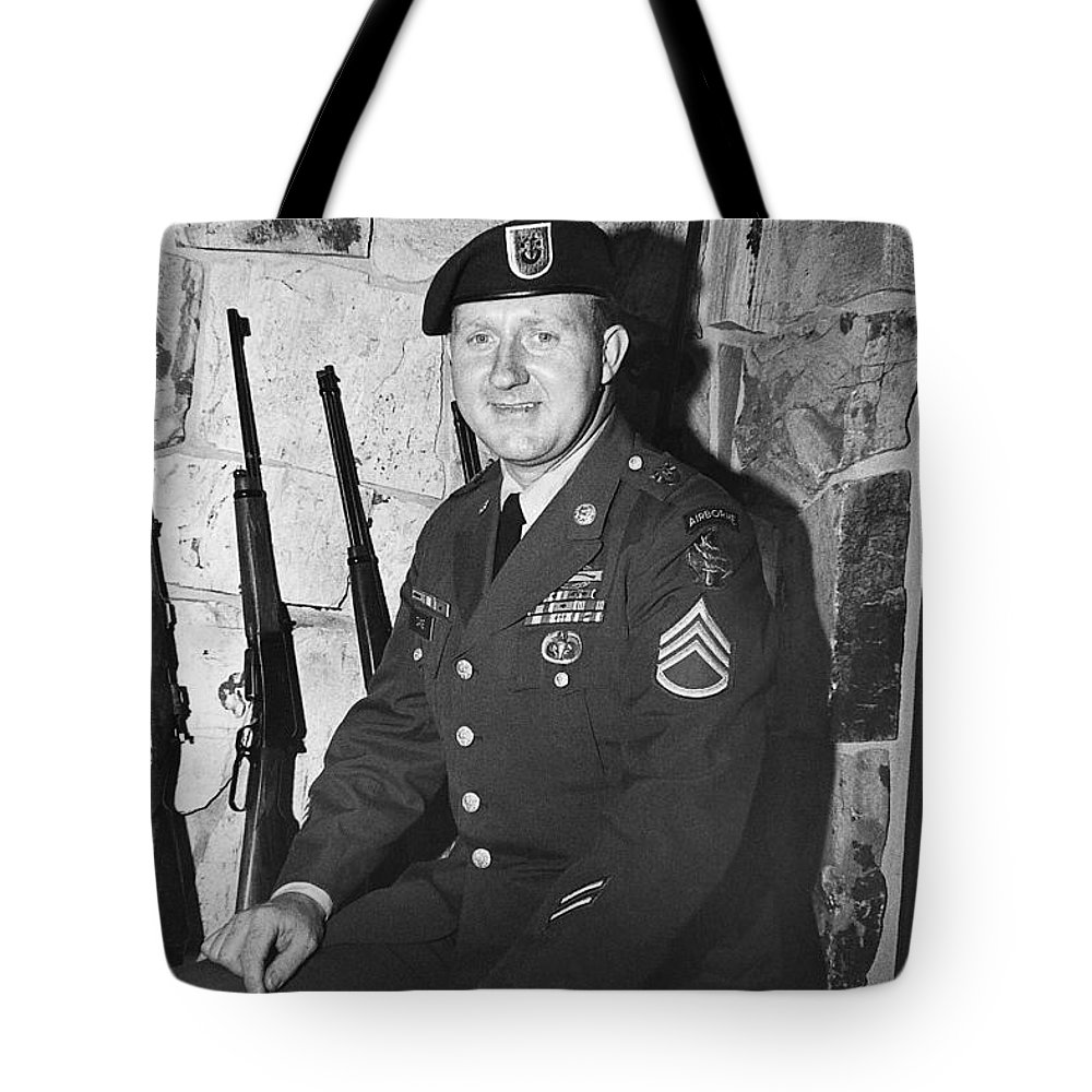 John Dane In Viet Nam Uniform American Fork Utah 1975 Tote Bag featuring the photograph John Dane In Viet Nam Uniform American Fork Utah 1975 by David Lee Guss
