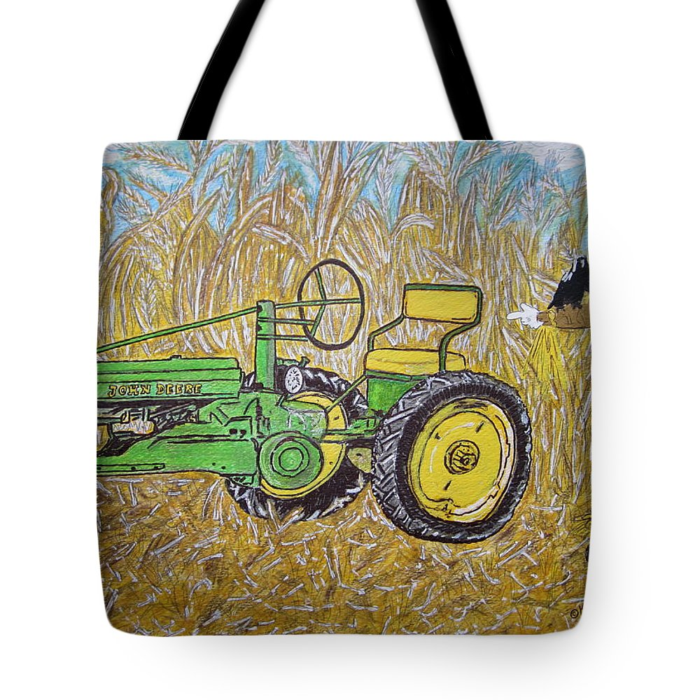 John Deere Tote Bag featuring the painting John Deere Tractor And The Scarecrow by Kathy Marrs Chandler