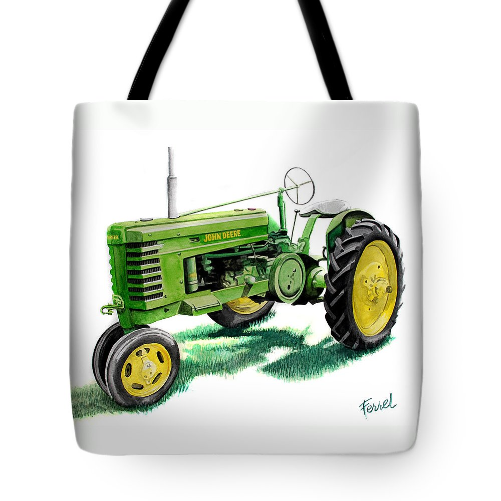 John Deere Tractor Tote Bag featuring the painting John Deere Tractor by Ferrel Cordle