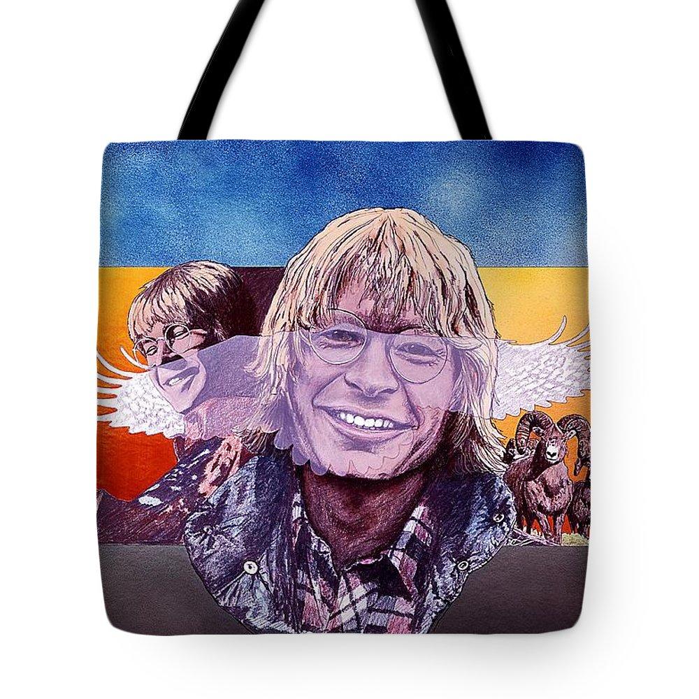 John Denver Tote Bag featuring the mixed media John Denver by John D Benson