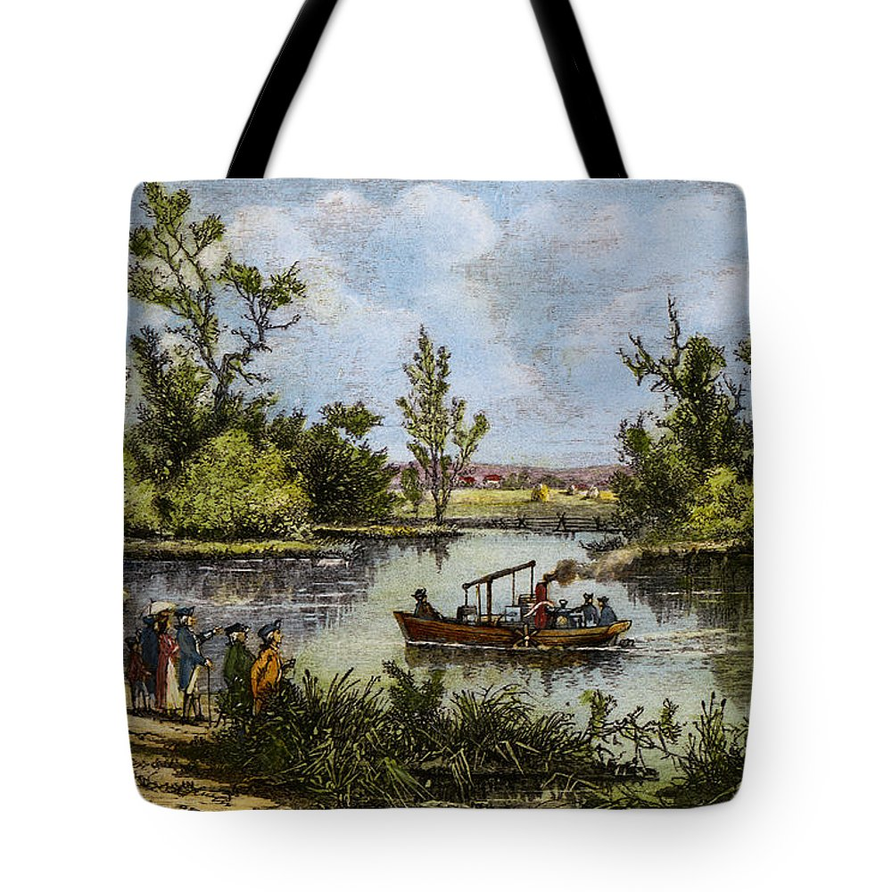1796 Tote Bag featuring the drawing John Fitch Steamboat, 1796 by Granger