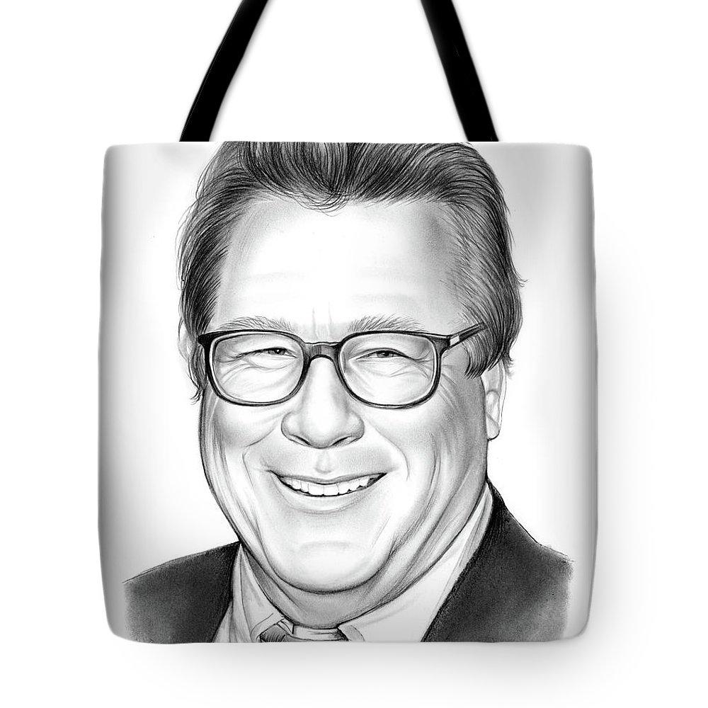 Rip Tote Bag featuring the drawing John Heard by Greg Joens