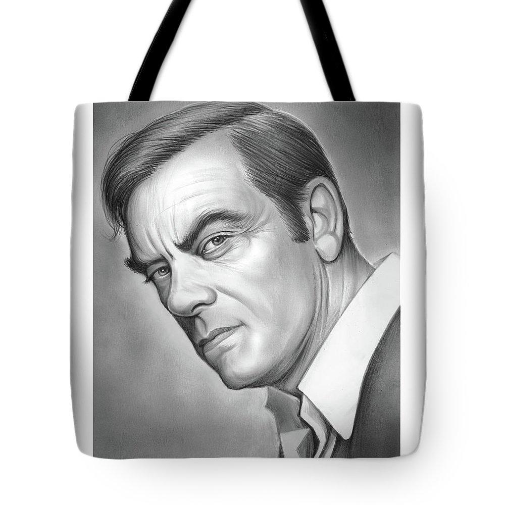 John Ireland Tote Bag featuring the drawing John Ireland by Greg Joens