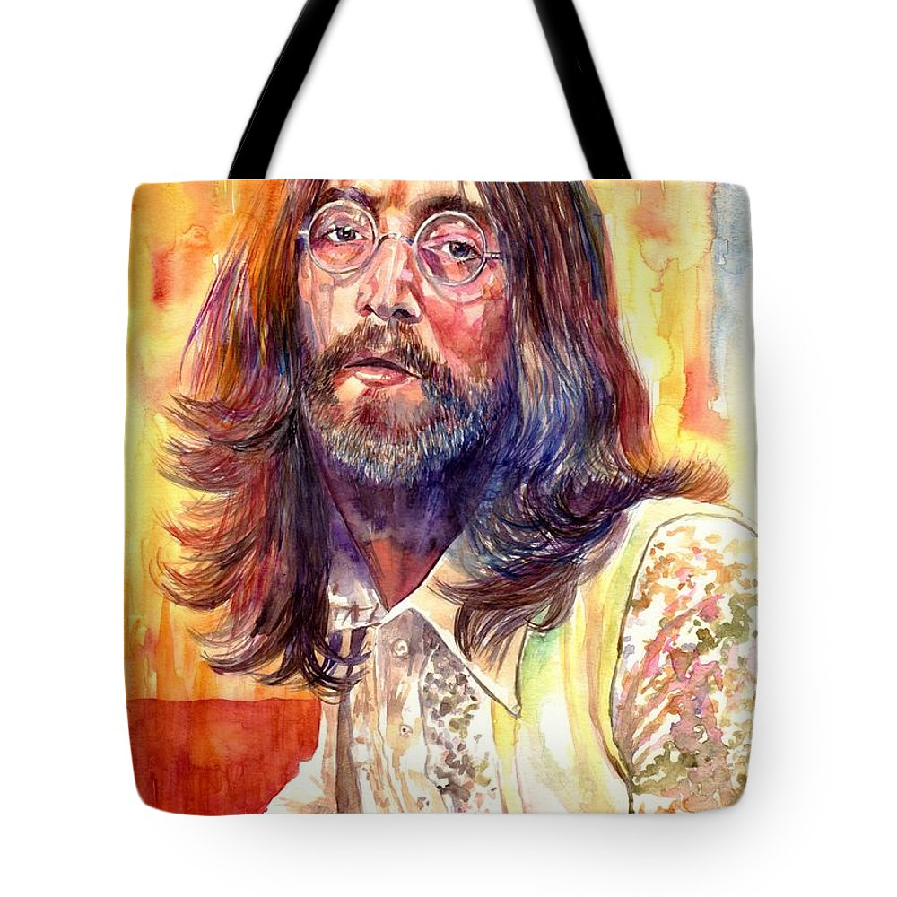 John Lennon Tote Bag featuring the painting John Lennon watercolor by Suzann Sines