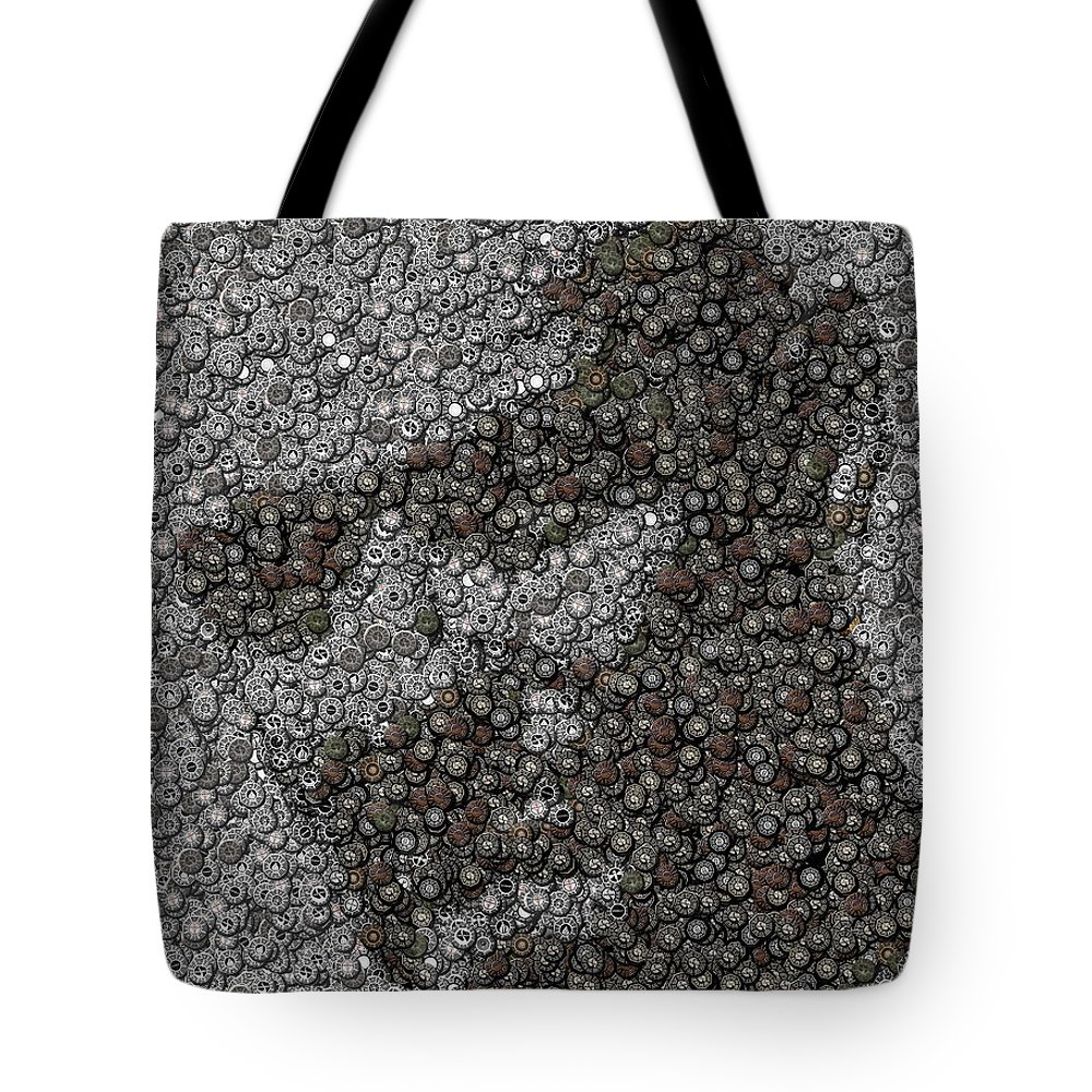 Lost Tote Bag featuring the mixed media John Locke Dharma Button Mosaic by Paul Van Scott