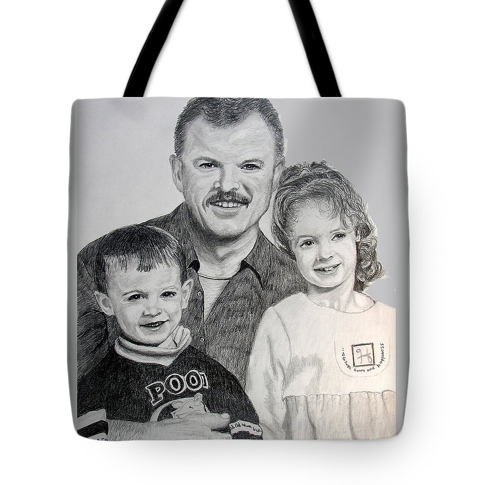 Portrait Tote Bag featuring the drawing John Megan And Joey by Stan Hamilton