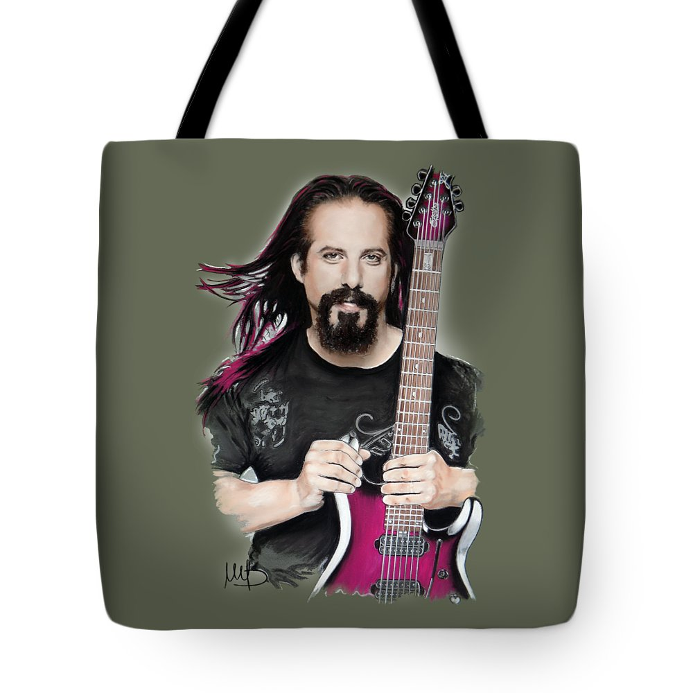 John Petrucci Tote Bag featuring the mixed media John Petrucci by Melanie D