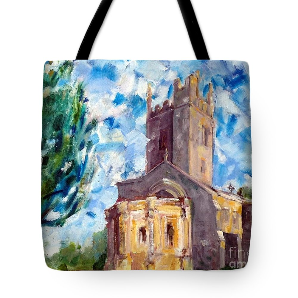 John Piper's Jewel Porch Tote Bag featuring the painting John Piper's Jewel - Sunningwell Church by Chris Irwin Walker