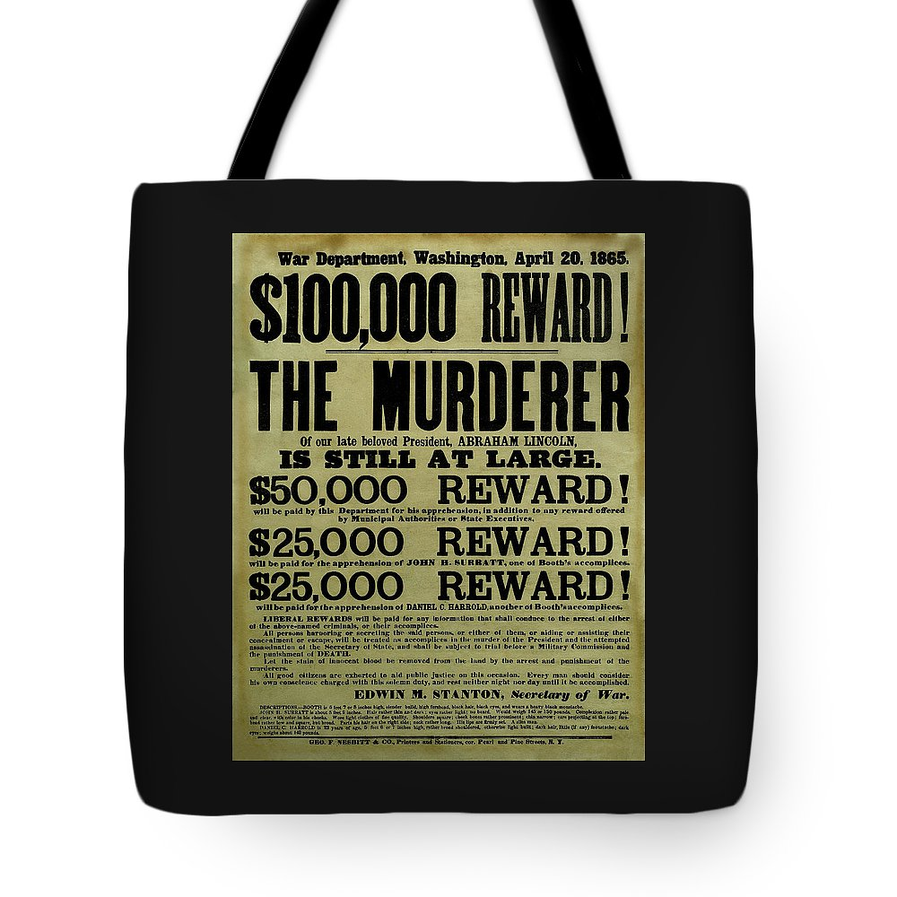 Wanted Tote Bag featuring the mixed media John Wilkes Booth Wanted Poster by War Is Hell Store
