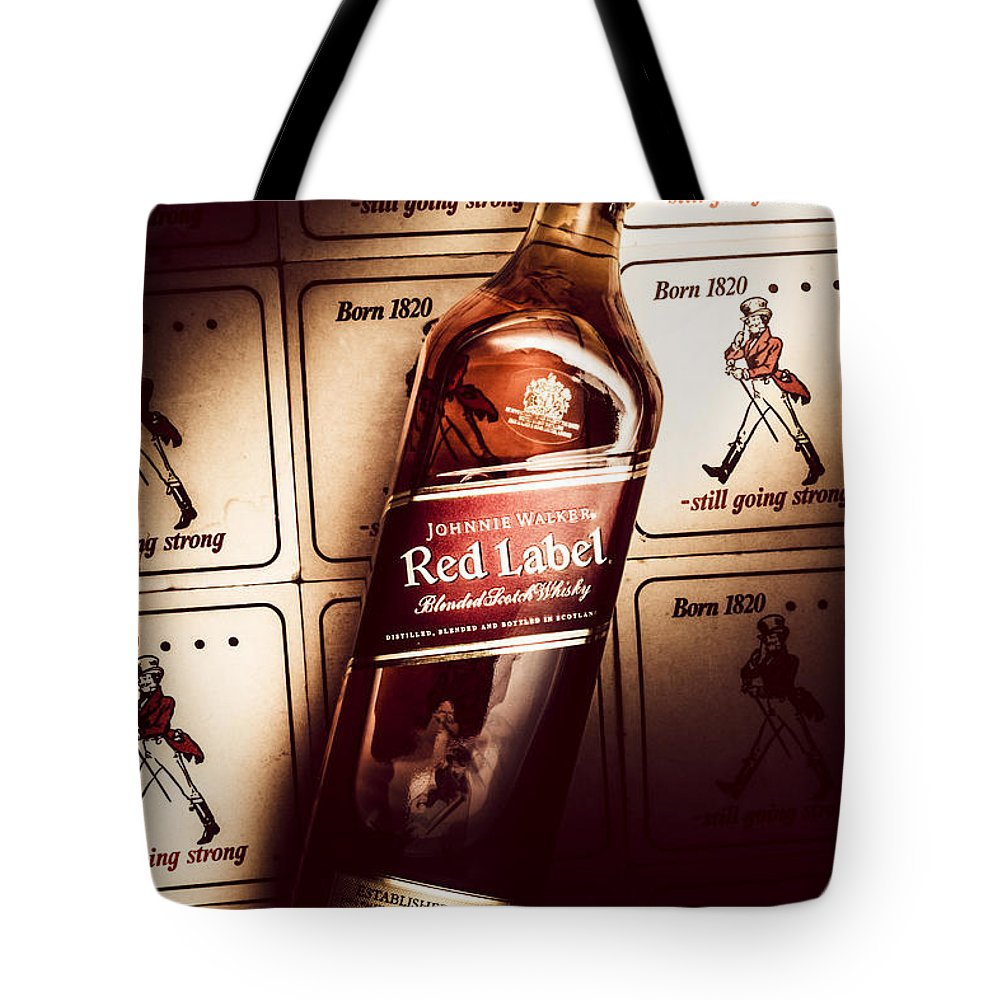 Pub Tote Bag featuring the photograph Johnnie Walker Red Label Blended Whisky by Jorgo Photography - Wall Art Gallery