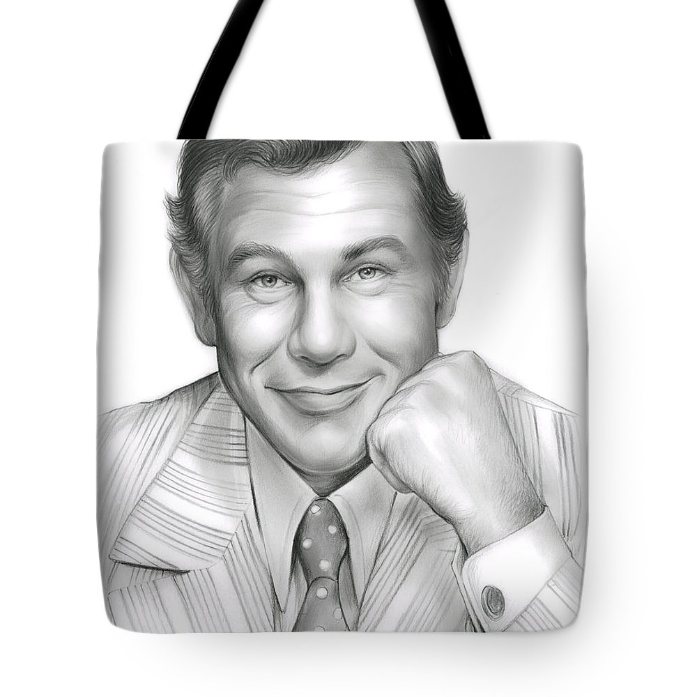 Johnny Carson Tote Bag featuring the drawing Johnny Carson by Greg Joens