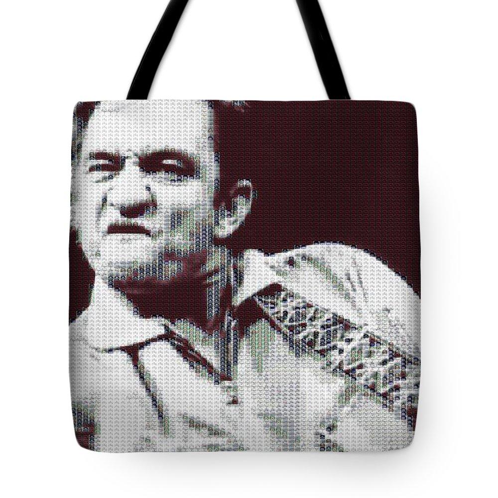 Johnny Cash Beer Cap Mosaic Tote Bag featuring the digital art Johnny Cash Beer Cap Mosiac by Dan Sproul